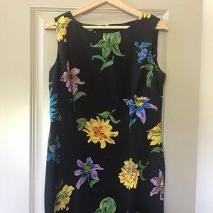 Vintage Fitted Black with Bold Floral Dress